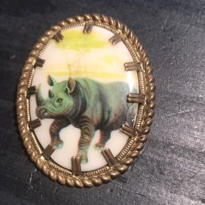 Jewelry - Vintage rhino 🦏 on porcelain brooch